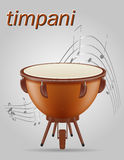 Timpani drum musical instruments stock vector illustration. Isolated on gray background Stock Images