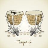 Timpani. Hand drawn timpani on a light background Royalty Free Stock Photography