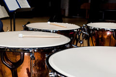 Timpani standing on stage Royalty Free Stock Photography