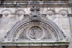 Timpano, chiesa del san Leu Saint Gilles a Parigi fotografia stock libera da diritti