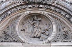 Timpano, chiesa del san Leu Saint Gilles a Parigi fotografie stock libere da diritti