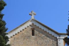 Timpano della chiesa del monastero in Latrun, Israele immagini stock libere da diritti