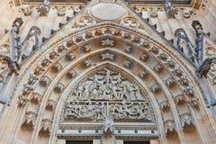 Timpano della st Vitus Cathedral a Praga Immagine Stock Libera da Diritti