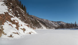 Timpton River in South Yakutia, Russia in wintertime Royalty Free Stock Images