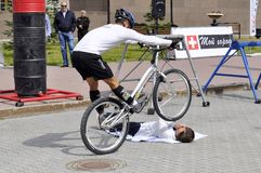 Timur Ibragimov � the champion of Russia on a cycle trial, acts Royalty Free Stock Photography