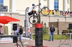 Timur Ibragimov � the champion of Russia on a cycle trial, acts Stock Photography