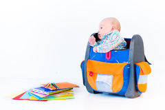 Timy newborn baby in a big school bag Royalty Free Stock Image