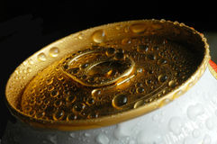 Tin. Top of a tin with drops of water stock images