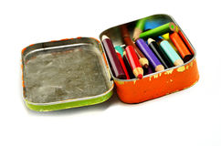 Tin Bin of Colored Pencils Representing Art Royalty Free Stock Photos