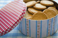 Crackers on a tin box. Royalty Free Stock Photos
