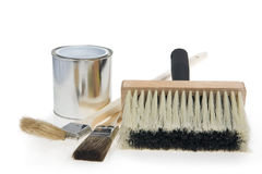 Tin and brushes Royalty Free Stock Photography