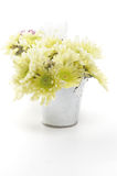 Tin Buckets with Yellow Chrysanthemum Stock Photo