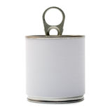 Tin Can. With blank white Label isolation on a white Royalty Free Stock Photo