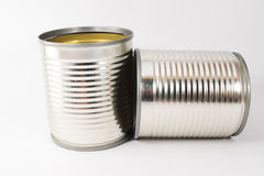 Tin can. Empty tin cans on white background Royalty Free Stock Photography
