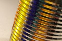Tin Can Abstract - Yellow, Orange, Blue Colors stock photo