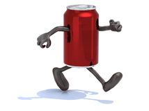 Tin can with arms and legs running Royalty Free Stock Photo