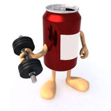 Tin can with arms and weight Royalty Free Stock Photo