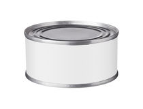 Tin can with a blank label Royalty Free Stock Photos