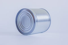 Tin can. Closed tin can close-up. The canal lies on its side Royalty Free Stock Photos