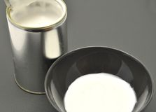 Tin can with coconut milk Stock Photo