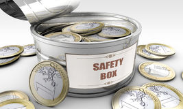 Tin can with coins inside Royalty Free Stock Image