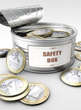 Tin can with coins inside Royalty Free Stock Photos