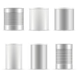 Tin can collection. White containers with plastic cap and metal. Royalty Free Stock Photos