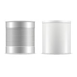 Tin can collection. White and metallic tin cans with cap. Royalty Free Stock Images