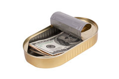 Tin can with dollars Royalty Free Stock Photography