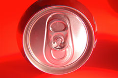 Tin can,Easy open a can on red background Royalty Free Stock Photos