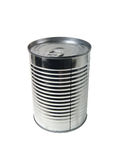 Tin Can of Food. A tin can of food with no label. Isolated on white stock photo