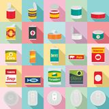 Tin can food package jar icons set, flat style. Tin can food package jar icons set. Flat illustration of 25 tin can food package jar vector icons for web Royalty Free Stock Photography