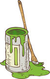 Tin Can of Green Paint and Paintbrush. Isolated on a White Stock Photos