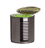 Tin can with green peas Royalty Free Stock Photo