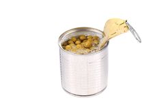 Tin can with green peas. Royalty Free Stock Photos