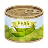 Round tin can with green peas. Vector illustration on white background. royalty free stock images