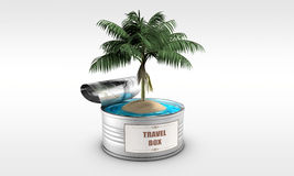 Tin can with an island and a palm tree Royalty Free Stock Image