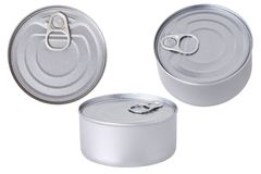 Aluminium tin can conserve isolated. Tin can isolated on a white background. Aluminium tin can conserve royalty free stock images