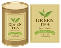 Tin can with label of green tea Stock Images