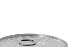 Tin Can Lid, Food Preserve Ringpull Canister Sealed Top, Large Detailed Isolated Macro Closeup, Blank Empty Copy Space Royalty Free Stock Photos