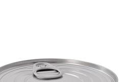 Tin Can Lid, parte superior selada cartucho de Ringpull da conserva do alimento, grande close up macro isolado detalhado, espaço  fotos de stock royalty free