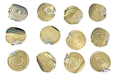 Tin can lids with opener Royalty Free Stock Image
