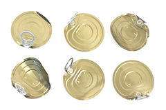 Tin can lids with opener. Isolated on white stock photography