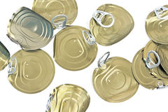 Tin can lids with opener Royalty Free Stock Photos