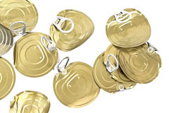 Tin can lids with opener Stock Photos
