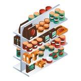 Tin can market shelf icon, isometric style royalty free illustration