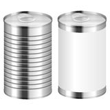 Tin can. Metal tin can on a white background Royalty Free Stock Image