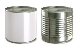 Tin can mock up. 3d vector icon set Royalty Free Stock Photos