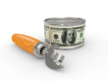 Tin can with money Stock Photography