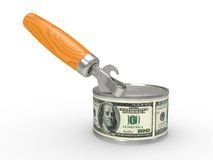 Tin can with money Royalty Free Stock Images
